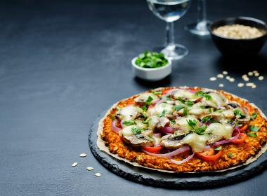 Pizza with sweet potato crust