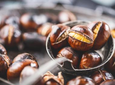 Delicious fresh spoonful of chestnuts