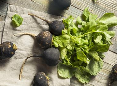 Delicious black radish with leaves